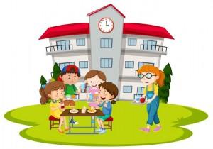 children-having-lunch-at-school-vector